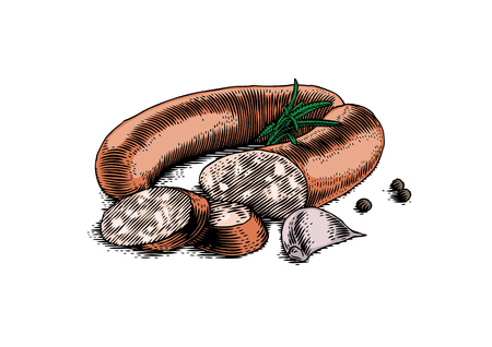 Smoked sausage with garlic, rosemary and black pepper