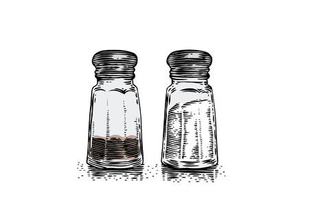 Szklana solniczka i pieprzniczka na białym tle