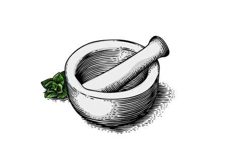 Mortar bowl and pestle with fresh green oregano Ilustracja