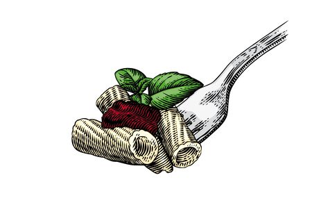 Drawing of pasta on the fork with sauce and leaves of basil