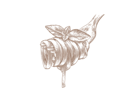 Drawing of pasta on metal fork with fresh green basil 일러스트