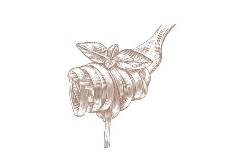 Dibujo de pasta sobre tenedor de metal con albahaca verde fresca