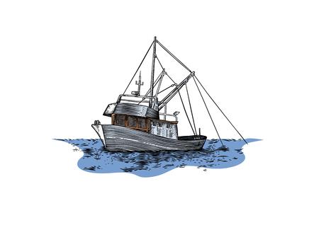 Drawing of trawler fishing at the sea Çizim