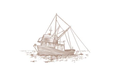 Drawing of trawler fishing at the sea Stock Illustratie