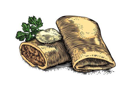 バターとパセリと肉を詰め 2 パンケーキの図面