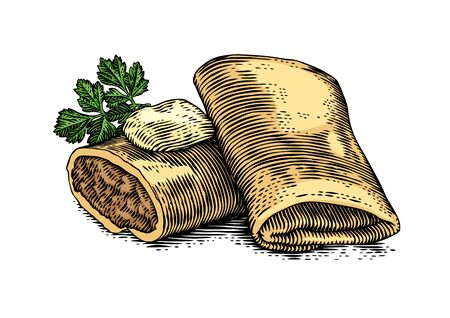 Drawing of two pancakes stuffed with meat with butter and parsley Иллюстрация