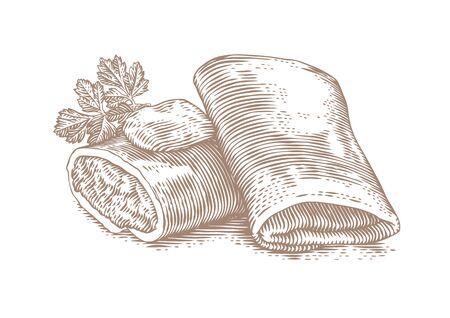 Tekening van twee pannekoeken gevuld met vlees met boter en peterselie