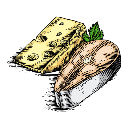 Steak of salmon, piece of cheese and parsley