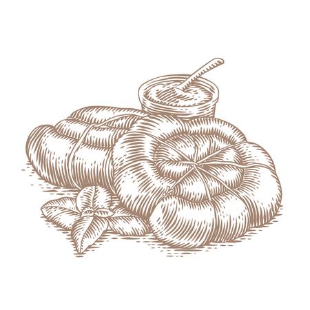 Eigengemaakte worsten met mosterd en vers groen basilicum Stock Illustratie