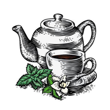 Cup of tea with teapot and fresh greens Illustration