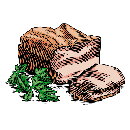 Drawing of piece of brisket with slice and parsley. Иллюстрация