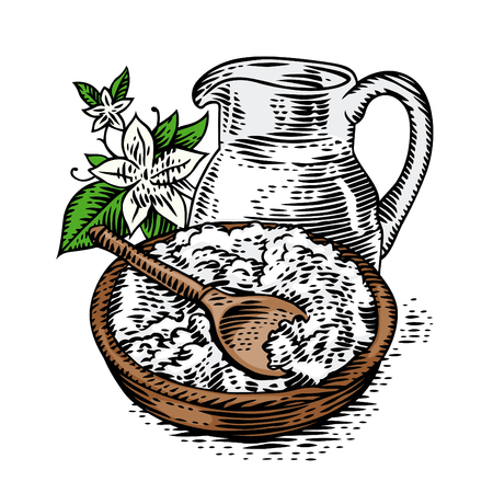 Cottage cheese in the bowl with jug of milk.