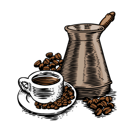 Cup of coffee with coffee beans and copper cezve.