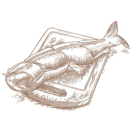 木製の板の上にスモークザトウサーモン。  イラスト・ベクター素材