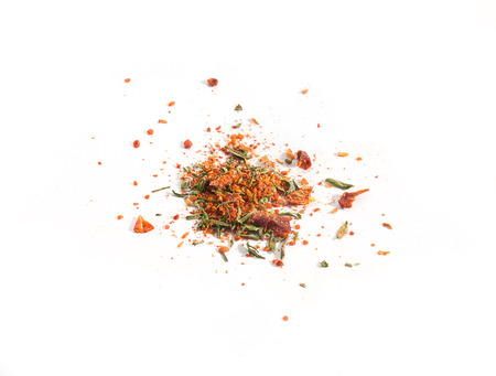 Mix of dried herbs on the white background