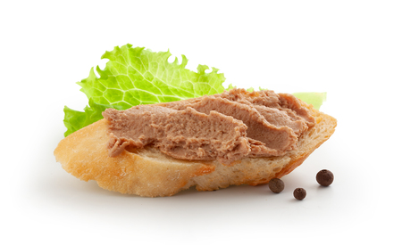 Isolated sandwich with meat pate, lettuce and black pepper Zdjęcie Seryjne