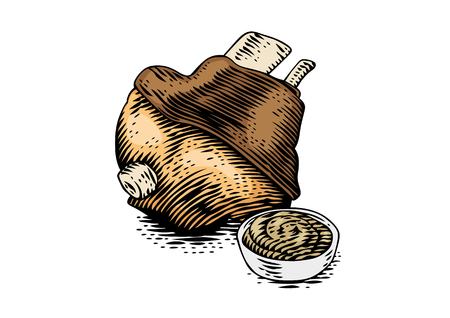 Drawing of baked pork knuckle with mustard in the sauceboat