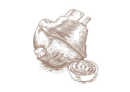 Zeichnung von gebackener Schweinshaxe mit Senf in der Sauciere Vektorgrafik