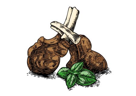Disegno di costolette arrosto con basilico verde fresco sul bianco