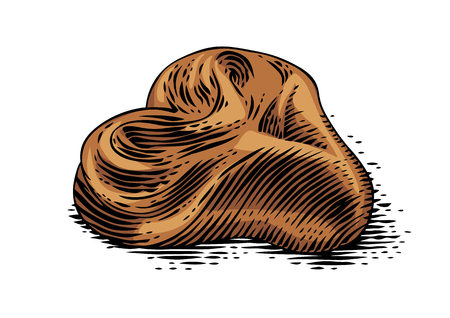 Drawing of isolated fresh bun on the white background