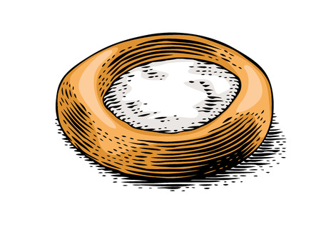 Drawing of isolated fresh cheesecake on the white background Ilustração