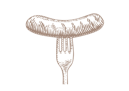 Drawing of grilled small sausage on the metal fork