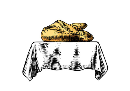 Bread and white loaf on the white tablecloth