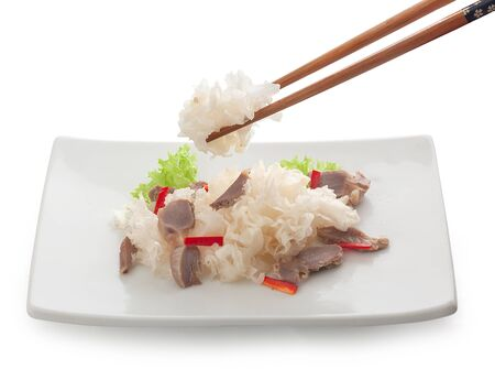 Marinated Korean-style snow fungus on the white plate