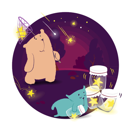 Hand drawing illustration two bears catch stars at night