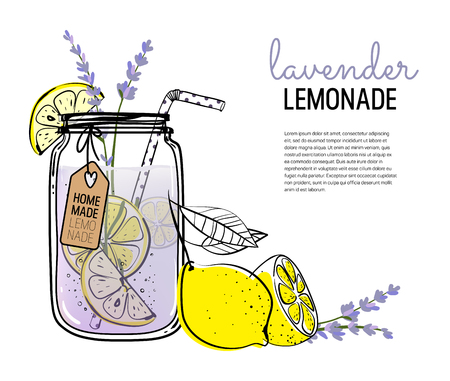 Hand drawn lemon, lemon slice, lavender, straw with place for your text,  glass jar with lemonade, a sketch of homemade lemonade, summer template Ilustração