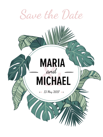 Tropic leaves background with place for your text. Perfect wedding invitation background, save the date card. Illustration