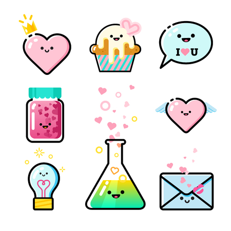 Collection of romantic icons. Illustration
