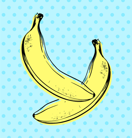 Vector hand drawn banana with dotted background. Exotic tropical fruit. Sketch. Pop art. Perfect for invitations, greeting cards, posters.