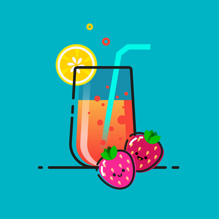Hand drawn illustration of lemonade glass with strawberry and lemon on a blue background. Home made lemonade lettering