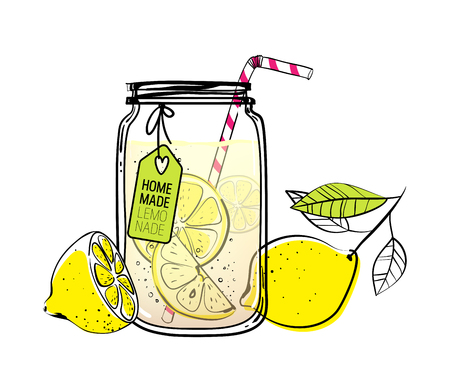 Hand drawn lemon, lemon slice, straw and a tag for your text,  glass jar with lemonade, a sketch of homemade lemonade, summer vector illustration Vettoriali