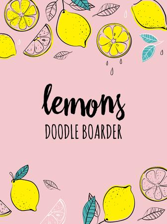 벡터 손으로 그려진 된 하숙 인 레몬 함께입니다. 열대 과일. 스케치. 팝 아트. 건강 한 먹는 벡터 개념 레몬과 copyspace. 다이어트 및 유기농 식품 템플릿 일러스트