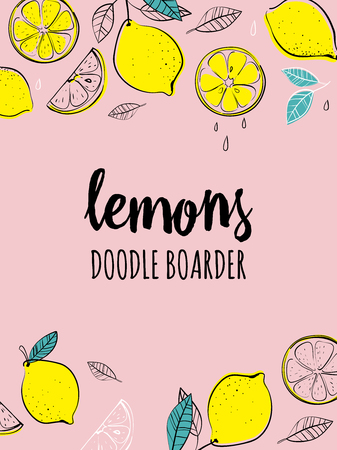 Vector hand drawn boarder with lemons. Tropical fruit. Sketch. Pop art. Healthy eating vector concept with lemons and copyspace. Diet and organic food template. Great for healthy magazines, cooking web sites and restaurant newsletters.