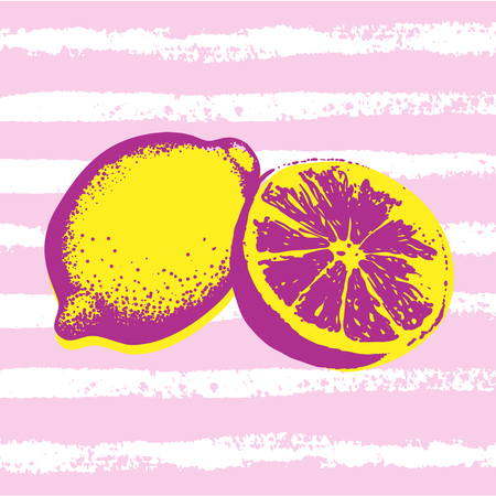 Vector hand drawn Lemons with striped background. Exotic tropical fruit. Sketch. Pop art. Perfect for invitations, greeting cards, posters.