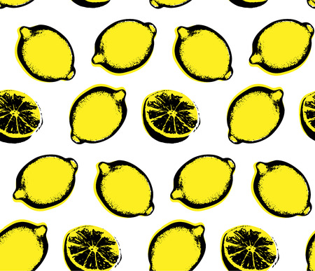 Vector hand drawn lemon seamless pattern. Sketch. Pop art. Perfect for wall art, kitchen art, print, posters. Hand sketched fruits illustration collecton.