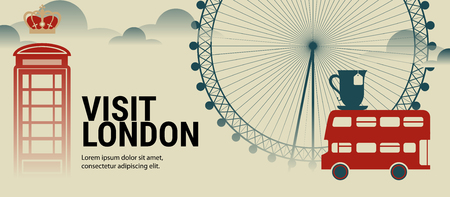 Flat illustration with London Eye, red bus, telephone box and other symbols of London. Concept for travel banner. 일러스트