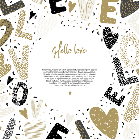 Romantic concept. Background with beautiful hearts, letters and confetti on white paper. Vector illustration with place for your text. Love theme. Ilustrace