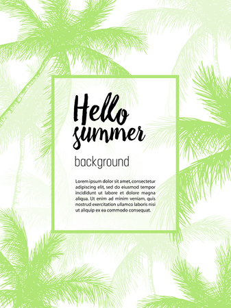 Vector hand drawn palm. Tropical summer engraved style illustration. Perfect for invitations, greeting cards, posters, fashion & beauty shop, store.