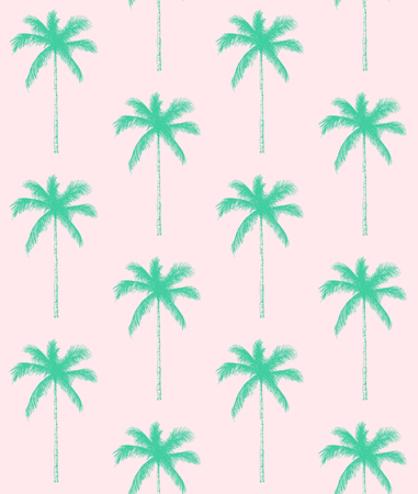 Seamless pattern. Palm tree background. Vector illustration. Perfect for invitations, greeting cards, wrapping paper, posters, fabric print.