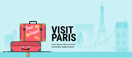 Web page or banner template with suitcases. Trip to France. Time to travel. Modern flat style illustration with Tour Eiffel and other symbols of France.
