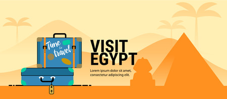 Web page or banner template with suitcases. Trip to Egypt. Time to travel. Travel banner. Flat style. Ilustrace
