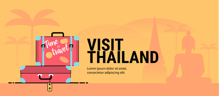 Web page or banner template with suitcases. Trip to Thailand. Time to travel. Tourism to Asia. Travel banner. Flat style.