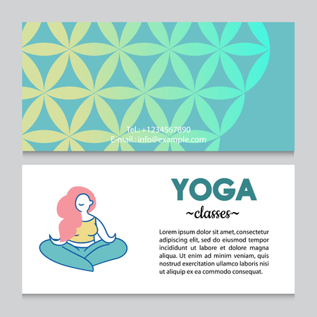 Business card or flyer template for yoga retreat or yoga studio, flower of life pattern backdrop. Flat design. Ilustrace