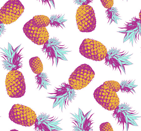 Seamless pattern pineapple background vector illustration. Perfect for invitations, greeting cards, wrapping paper, posters, fabric print.