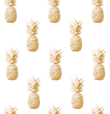 Seamless pattern gold pineapple background vector illustration. Perfect for invitations, greeting cards, wrapping paper, posters, fabric print.