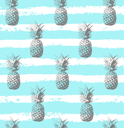 Seamless pattern silver pineapple background vector illustration. Perfect for invitations, greeting cards, wrapping paper, posters, fabric print.